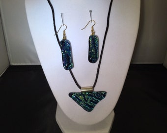 Dichroic glass neclace and earrings