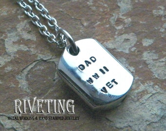 Dog Tag Stainless Steel Hand Stamped Urn