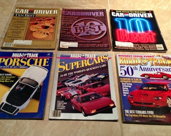 "Vintage Car Magazines, Group of Five Late 1980s Special Edition Magazines, ""Ten Best"" Car and Driver, Plus Road and Track 50th Anniversary"