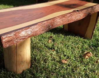 Red Wood Coffee Table and End Table Set