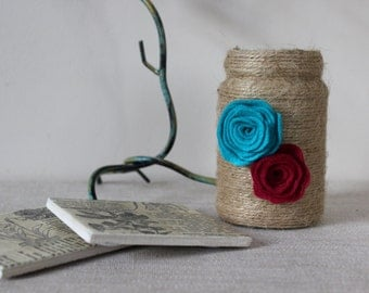 Upcycled Vase - Handcrafted with Twine and Felt Flowers