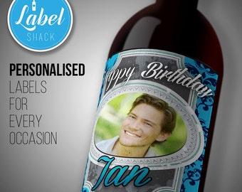 Personalised birthday wine bottle PHOTO label-Ideal Celebration/Anniversary/Birthday/Wedding gift personalized bottle label