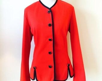 Vintage 1980's Red Women's Dress Jacket -Size Medium