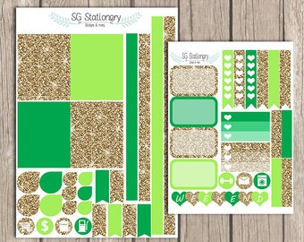 Green and Gold Planner Stickers, Planner Stickers, Functional Stickers, green and gold, ombre, glitter, March, EC March