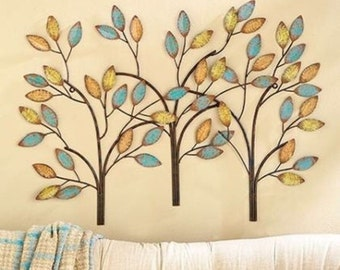 Metal Tree Wall Sculpture 3 Feet Wide Wall Art Home Decor Leaves