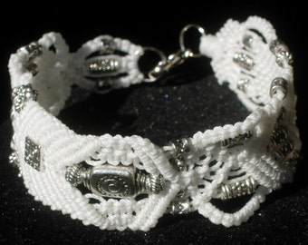"Bracelet, ""Babylon White"" Micro macrame with Pewter beads."