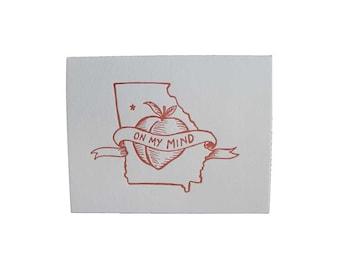 Georgia On My Mind - Letterpress Georgia Card