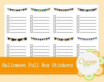 Halloween Full Box Planner Stickers for Erin Condren Life Planner - Halloween Check Box Stickers