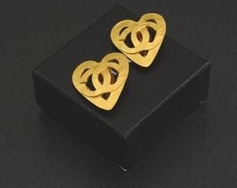 Vintage Chanel Gold Tone Heart Shaped Earrings