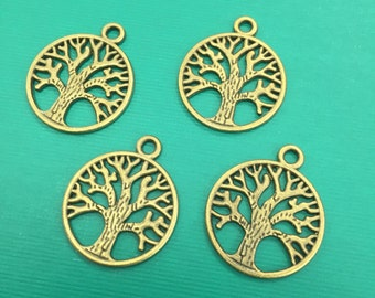 4 Tree of Life Charms, Antique Tree of Life Charms, Antique Tree of Life pendants, Tree of Life Charms, Tree of Life Pendants, Tree of Life