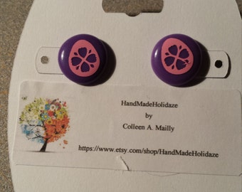 Purple Button Earrings with Pink Easter Eggs
