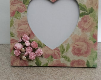 Roses and Hearts Picture Frame Valentine Wedding Engagement