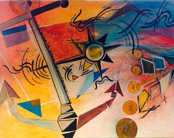 "Wassily Kandinsky inspired, underwater themed, Oil on Canvas Painted, 48""x36"", wired, unframed (""Nautical Navigation"")"