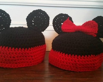 Mickey or Minnie Inspired Beanies, Crochet Baby Beanies, Newborn Beanies, Toddler Beanies, Mickey Mouse, Minnie Mouse Inspired