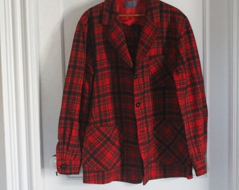 Pendleton Virgin Wool Three Button Blazer - Made in USA - Plaid - Tartan - Medium