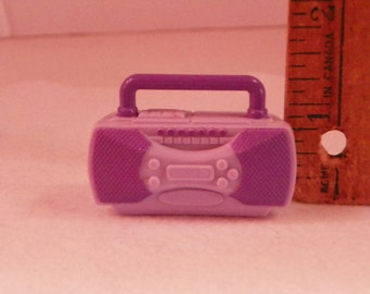 Vintage Barbie Purple Stereo Boombox , Dollhouse Miniature Plastic Stereo , Mini Doll Diorama Boombox Stereo , Barbie Mattel Furniture