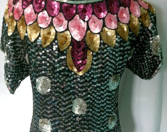 "Stunning 1980's ""Serenade"" 100% pure silk sequin blouse - Size 10/12 (M)"