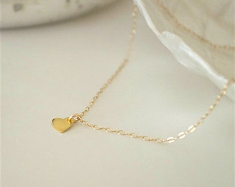 Tiny gold heart necklace, minimalist petite heart, delicate 24 K gold vermeil heart, layered necklace, minimal necklace