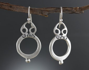 Stamped Filigree Hoop Earrings - Intricate Finish Hoops - Hand Stamped Sterling Silver Earrings - Silver Filigree Earrings - Sherry Tinsman
