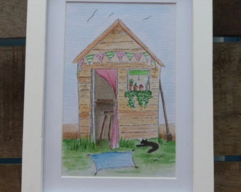 Hand Painted Framed Watercolour 'The Potting Shed'