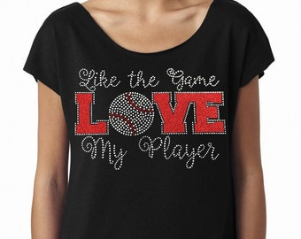 Like The Game Love My Player (Baseball) Next Level Women's The Terry Dolman  Tshirt