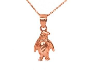 14k Rose Gold Penguin Necklace