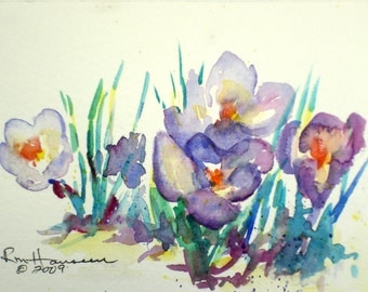 """ORIGINAL Plein Air Watercolor-Spring Floral-Purple Crocus-Small 4""""x6"""" Painting with White/Green 8'x10"""" Mat"""