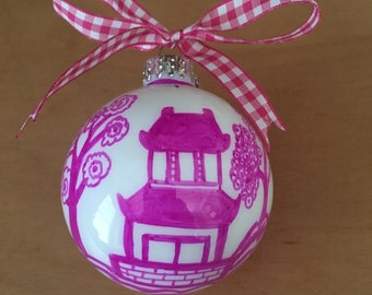 Pink Chinoiserie Ornament - Pagoda Design - Pink and White - Gingham - Blue Willow - Holiday - Christmas - Housewarming - Hostess - Gift