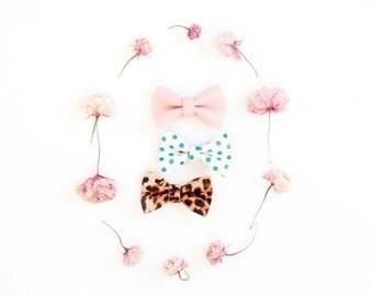 Newborn Soft Nylon Bow Headband, Micro Mini Leather Hair Bow, Blush Pink, Cheetah, Teal Polkadots, Retro Baby Bow, Tiny Baby Bow, Rockabilly