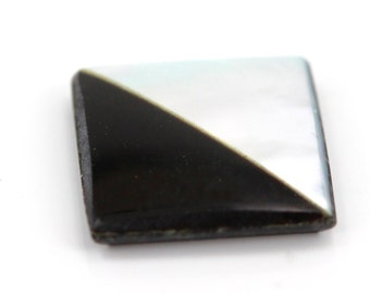 12mm Square Shaped Stone With Black Onyx Mother of Pearl Inlay