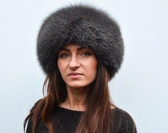 Granite Gray Fox Fur & Black Suede Leather Women's Winter Russian Vault Hat