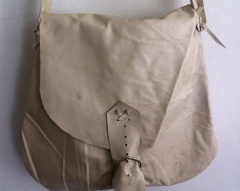 Handmade crossbody bag for woman, handbag from real leather, vintage, beige color, size: medium
