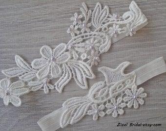 Ivory Wedding Garter, Bridal Garter, Wedding Garter Set, Lilac Pearl Garter, Wedding Clothing, Ivory Lace Garter, Ivory Garters, Garter Set