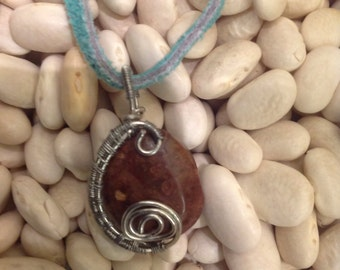 wire wrapped polished stone necklace