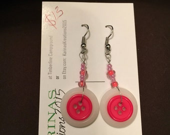 Hot Pink and White Button Earrings