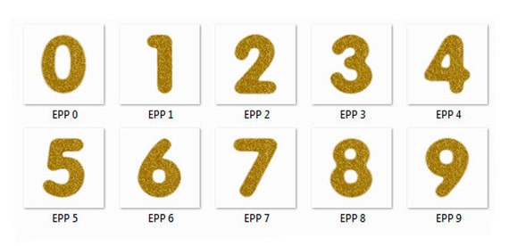 GOLD GLITTER NUMBERS, Numbers Overlays, Photoshop Overlays ...