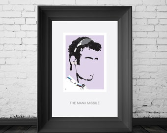 Mark Cavendish, MBE and Manx professional road racing cyclist. A4,A3 and A2 Hand and Digitally Drawn Poster. By Mike Moran
