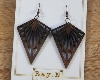 Handcrafted wooden earrings - Sunburst with horizont, Art Deco inspired, elegant, bespoke earrings
