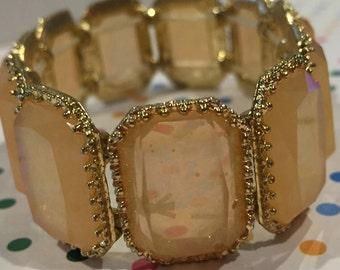 Rosy-peach iridescent gem bracelet