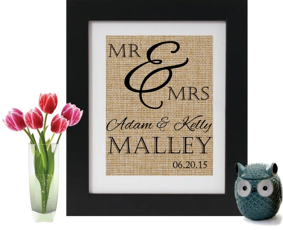 Mr Amp Mrs Burlap Personalized Wedding Gifts By Printyourmemory
