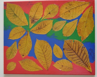 Fall Colors Two, Acrylic painting on canvas with dried leaves, 16 by 20 inches