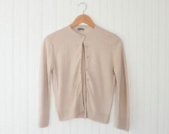 Interlock Knit Vintage 60s Cardigan | Tan 1950s - 1960s Sweater