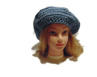 Handmade Blue Crochet Beret Knit Hat New