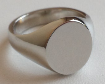 Plain Sterling Silver Signet Ring - Available In Different Sizes - Engraving Available