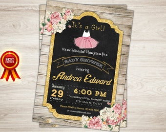 Rustic baby shower invitation. Pink tutu girl baby shower invitation. Floral. Wood. Printable Baby girl shower invitation tutu shower invite
