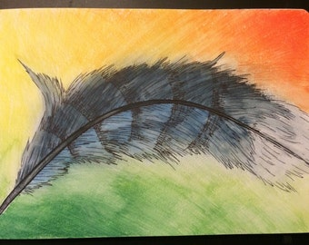 Watercolor Bluejay Feather