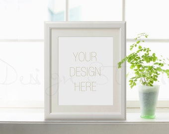 Styled Stock photography,  vertical white Digital Frame, Poster Frame Mockup green and white Mockup, Styled Photography