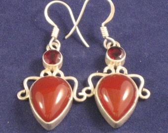 Carnelian and garnet earrings wrapped in sterling silver