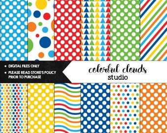 Digital Paper Pack - Primary Colors, Scrapbooking Art Design, Colorful Background Pattern, Circus Printable Paper, Rainbow Dots And Stripes