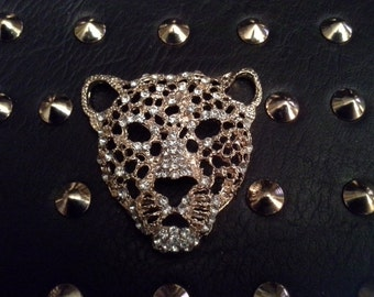 He doesn't bite....black leopard purse with studs